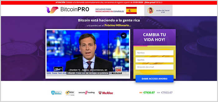 Bitcoin Pro es un software de estafa que no es real y no es seguro