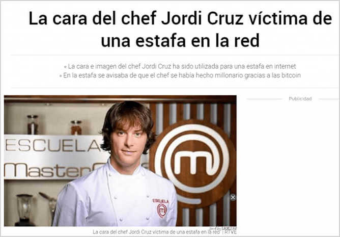 Jordi Cruz no ha invertido en este fraude