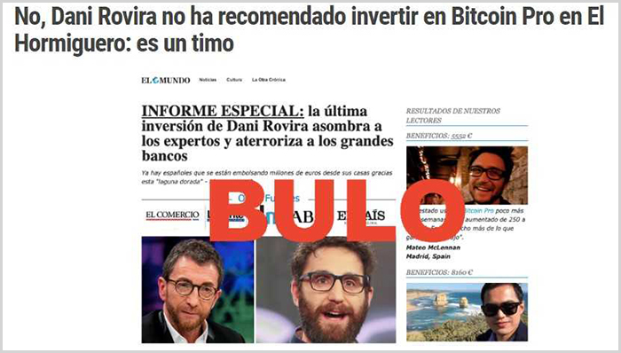 Dani Rovira no ha invertido en Bitcoin Pro